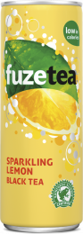 Fuze Tea Black sparkling Lemon Ice tea blik 250 ml