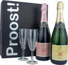 Wijnpakket Italian Metodo Classico en 2x Flutes Glas